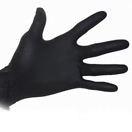 QIFENYEDENG Schwarze Einweghandschuhe , 100 Stück Haushaltsreinigung Waschhandschuhe , Labor Nail Art Tattoo Antistatische Handschuhe , Geeignet für Erwachsene , XL