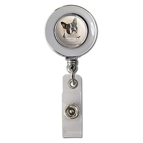 French Bulldog Dog Breed Retractable Reel Chrome Badge ID Card Holder Clip