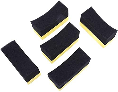 VSLIFE 5X Arandela de Rueda de Coche automotriz Profesional Neumático Aplicador de Revestimiento de neumáticos Almohadilla de Esponja de Espuma Curva Negro + Amarillo Durable