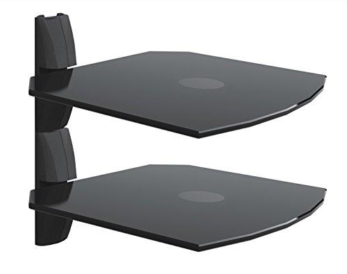 Invision AV Mensola Vetro Montata a Parete Ultra-Moderna (Set di 2) – Braccio a Sbalzo per Rotazione – Montabile ad Angolo- Usata Con Tutti i Tipi di Supporti per TV - Per DVD, PS3, PS4, SKY Box, XBox, Blu Ray Player, Proiettori Etc. Ogni Mensola Supporta 13.6KG *Per favore Controllate le Misure Prima dell'Acquisto* (2xB1)
