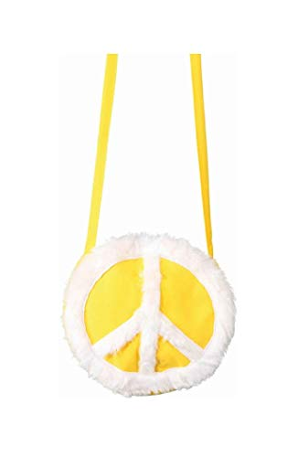narrenkiste O47447 Peace Hippie - Bolso bandolera para mujer, color amarillo