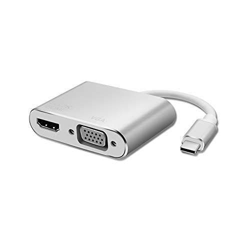 2 in 1 USB C a VGA HDMI Adapter, DEMKICO Multiport Dual Display Adapter Type C a HDMI VGA Adapter con 4K UHD HDMI, 1080P VGA compatibile con Macbook Pro, Chromebook Pixel, Samsung S8/S9 e altro