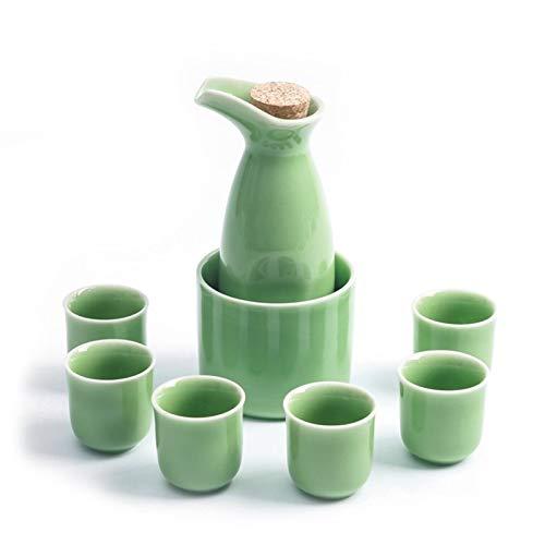 LYYF Juego de 8 sacos japoneses tradicionales de 8 piezas, 1 botella, 6 tazas y 1 calentador adecuado regalo de negocios 2122
