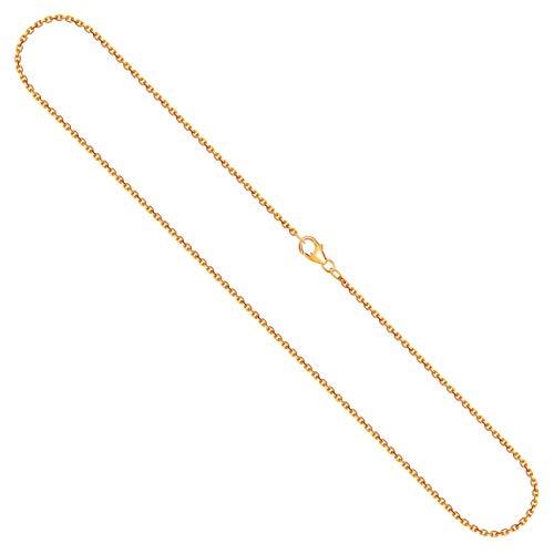 Goldkette Damen 750 Echtgold 50 cm, Ankerkette diamantiert mit Breite 1.7 mm, Gewicht ca. 5.8 g