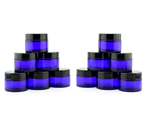 1-Ounce Cobalt Glass Jars (12-Pack); Little Straight-Sided Cosmetic Containers for Aromatherapy, Balms, & Lotions, 2-Tablespoon Capacity