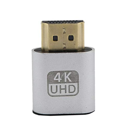 Kitechildhood - Adaptador de emulador de Pantalla Virtual VGA HDMI DDC Edid 1920 x 1080P, Color Plateado