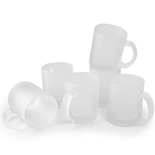 Werbewas satinierte Kaffeebecher, weiß/transparent/matt, 6er Set - Glas Kaffeetassen ohne Druck - Elegante Milch-Glas Becher für Büro und Haushalt, 300ml Tasse/Pott für Kaffee, Tee und mehr