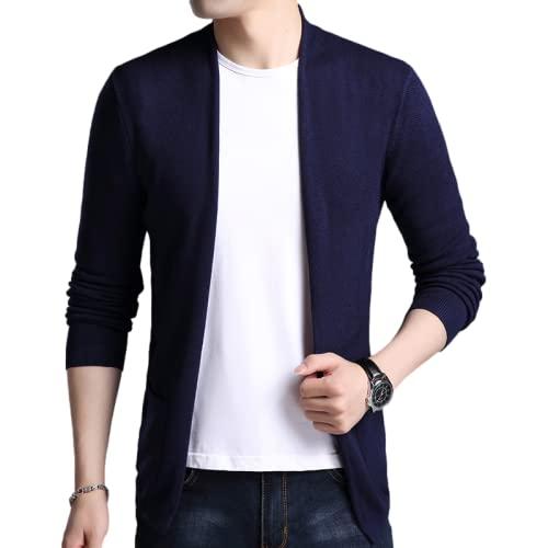 Xenwang Suéter Fino con Cuello en V para Hombre, cárdigan, Oficina de Negocios, Simple y versátil, Color Puro, suéter de Moda Informal, Abrigo XXL