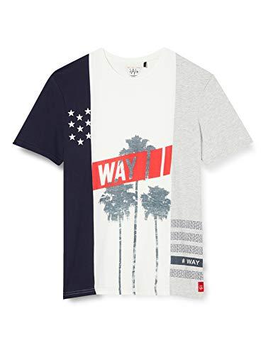IKKS Junior tee-Shirt Mix Mat Blanc Cassé/Navy/Gris Camiseta para Niños