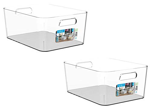 TIENDA EURASIA Cajas de Almacenaje con Asas - Organizadores de Plástico Multiusos - Ideales para baño, cocina, salón, dormitorio (Transparente, 2 Cajas - 34 x 24 x 13 cm - 9 L)
