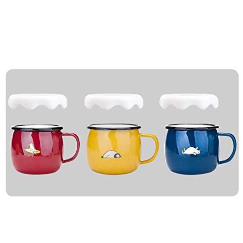JSMY Kettle-Juego de 3 Tazas de Desayuno esmaltadas para niños y Adultos,Taza de café con Leche,Taza Colorida,Taza para Beber para el hogar,Regalo de diseño Lindo y Divertido,se Puede Usar para c