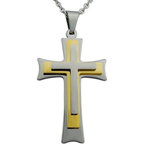 Hanessa Gravierte Kreuz Kette mit Wunsch Gravur auf der Rückseite Edelstahl Anhänger in gold und silber. Silberne Edel-stahl Hals-kette Schmuck für Mann oder Frau