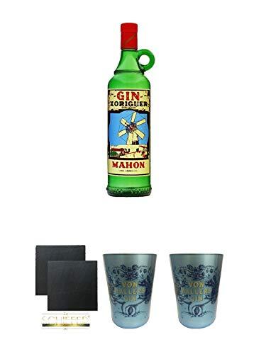Gin Xoriguer Mahon Gin 0,7 Liter + Schiefer Glasuntersetzer eckig ca. 9,5 cm Ø 2 Stück + Von Hallers Gin Becher EDITION WANDER IN WONDER aus Kristallglas 2 Stück