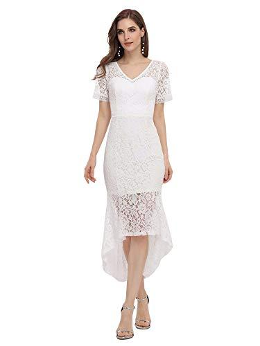 Ever-Pretty Bohemia Vestido de Novia Mujer Sirena Alto Bajo Encaje Escote en...
