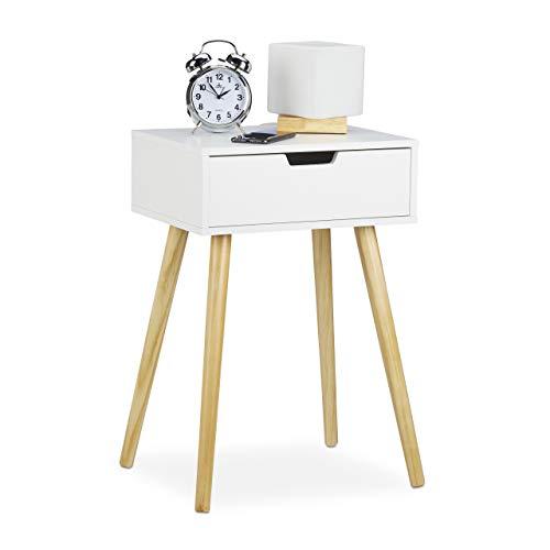 Relaxdays Nachttisch, modernes & skandinavisches Design, 1 Schublade, für Boxspringbett, HBT 60x40x30cm, weiß/Natur, MDF, 60 x 40 x 30 cm