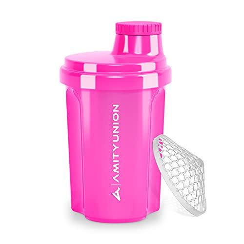 """Protein Shaker 300 ml """"Heaven"""" auslaufsicher, BPA frei mit einklickbarem Sieb & Skala für Cremige Whey Shakes, Gym Fitness Becher für Isolate & Sport Konzentrate, Eiweiß Shaker, Original in Pink"""