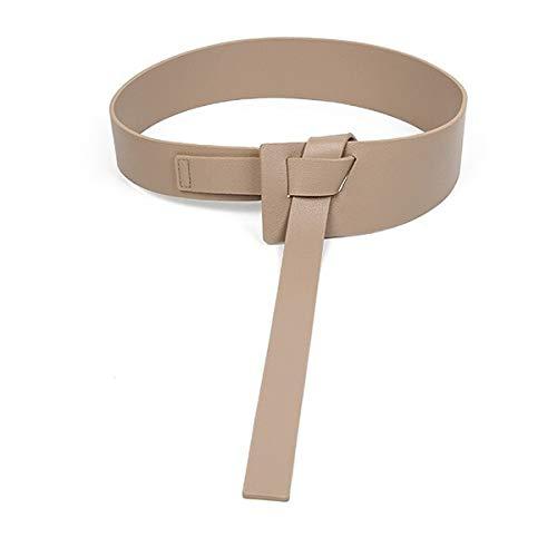 LPZW Nuevo diseño Mujeres Anudada Cinturonillas Ancho Largo Cuero Moda Mujer Cummerbunds Vestido Decorar Regalos de Hebilla de Cuero Marrón (Color : Khaki Color)