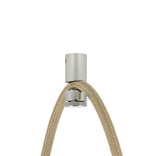 Soporte de cable de metal cromado para cables textiles para iluminación creativa como columpio mono, para colgar cada lámpara de forma precisa.