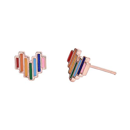 NOLOGO Mini Exquisite Regenbogen Herz Ohrringe Farbe Ohrringe Damen Studenten lieben Party Jewelr (Color : Rose Gold)