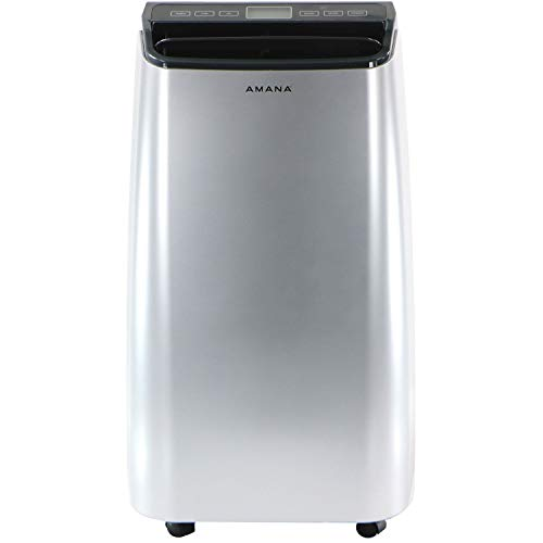Amana AMAP101AW-2 Gray Portable Air Conditioner with Remote Control in Silver Rooms up to 450-Sq. Ft, Up to 350 Sq