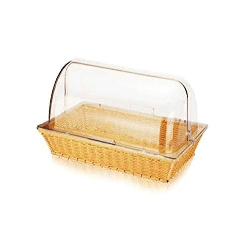 Shtsh Conjunto de Canasta de Pan, Cubierta de Alimentos Transparente Rectangular, Tapa de Pantalla de Pastel, Pan de Polvo Bocadillo de Pan (Color : Beige)