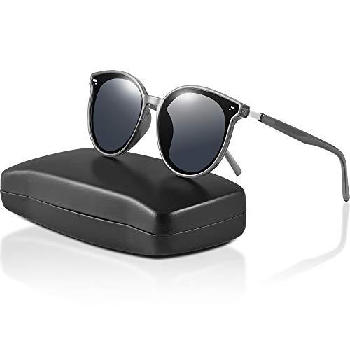 ipow Polarisierte Retro Vintage Katzenauge Sonnenbrille für Damen Herren verspiegelt 400 UV Sonnenschutz (Dunkel-Grau)