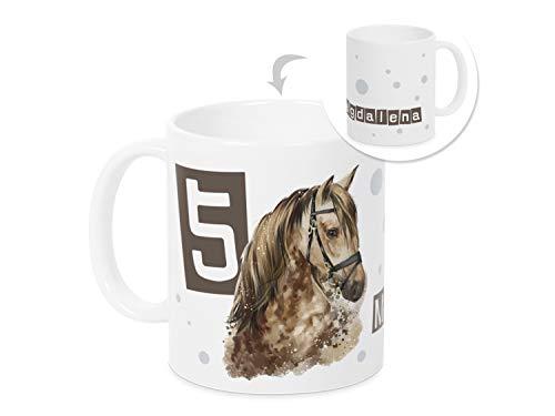 GRAZDesign Tasse Kinder mit Namen und Zahl mit Pferd, Geschenk personalisiert für Mädchen mit Jahreszahl
