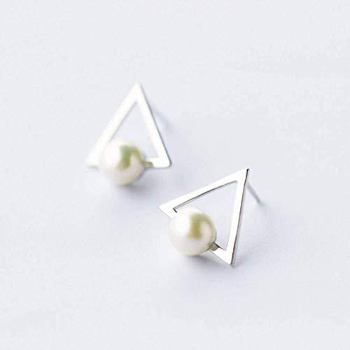 S925 zilveren oorbellen Women'S Natural Sweet Triangle oorbellen kunstmatige parel oorbellen sieraden, S925 zilver paar, 925 zilver, EEH A ZILVER