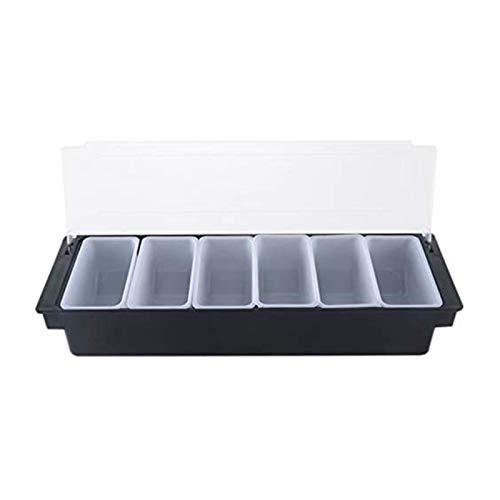 Sywlwxkq Caja de plástico 6 Compartimentos Caja Negra Caja de condimentos de Cocina Barra de Soporte Caja de decoración de Frutas y Bebidas Bandeja de cóctel