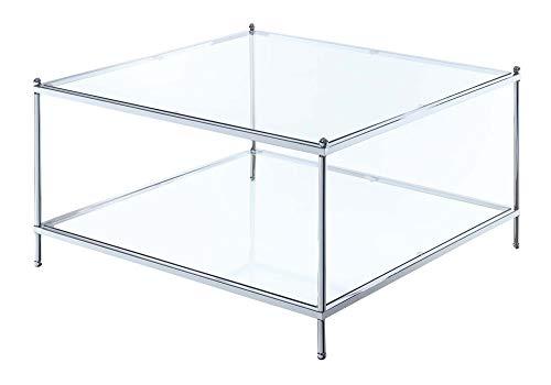 Convenience Concepts Royal Crest Square Coffee Table, Clear Glass / Chrome Frame