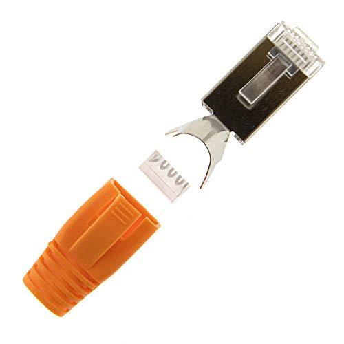 SeKi 10x Netzwerkstecker Orange CAT 7 6A RJ45 LAN Netzwerk Crimp Stecker Knickschutz