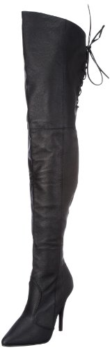 """Pleaser LEGEND-8899-5"""" Heel, Thigh Boot with Rear Lacing Detail Black Leather 14"""