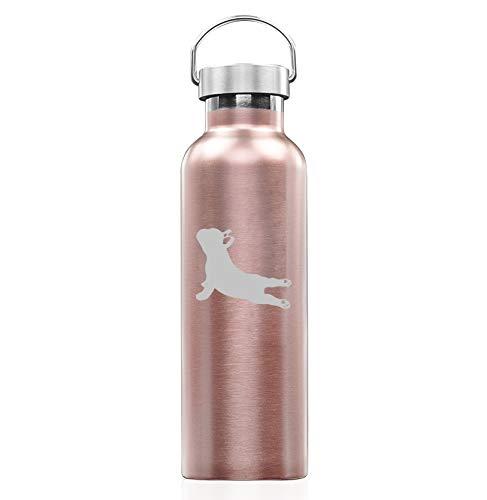 Rose Gold Double Wall Vacuum Insulated Stainless Steel Tumbler Travel Mug French Bulldog Yoga (25 oz Water Bottle)