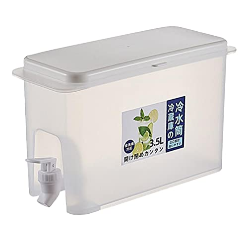 Auplew Bidón de agua con grifo de drenaje fijo, dispensador de bebidas, 3,5 l, refrigerador, hervidor de agua, adecuado para frigorífico de verano