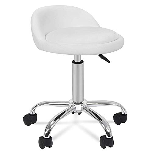 Oteymart Rolling Stool Adjustable Swivel Salon Chair Cushioned Hydraulic Medical Stool with Wheels Backrest PU Leather Chair for Shop Drafting Work Office Desk Massage Spa Beauty Facial Tattoo (White