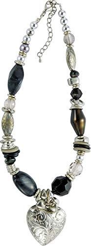 Behave Damen Perlenkette mit Herzanhänger aus Metal - Silberfarbe - 50cm Größe