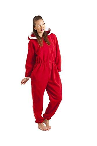 Damen Schlafanzug-Einteiler aus Fleece - Santa Rot - Größen 38-52 42/44
