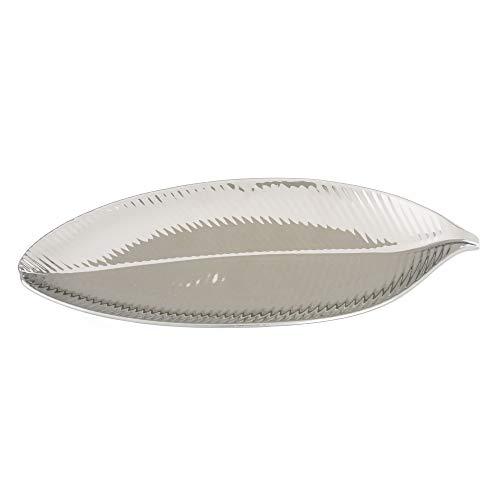 Bandeja Hoja Plata en cerámica de 32x14x3 cm - LOLAhome