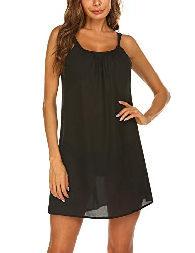 Sheshow Swimsuit Cover Ups for Women Summer Sexy Swimwear Bikini Cover Up Sundress Black S