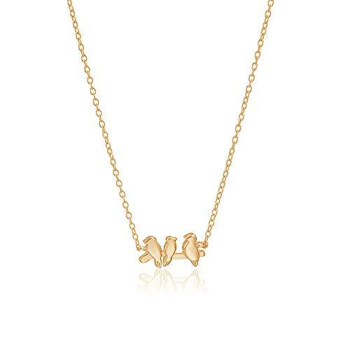 MANZHEN Three Little Birds Delicate Flying Birds Pendant Bird Necklace (gold)