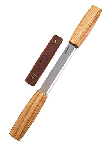 BeaverCraft DK2s Draw Knife with Leather Sheath Woodworking Tool 4.3' Drawknife Wood Carving Tools Wood Draw Knife Woodworking Whittling Tools