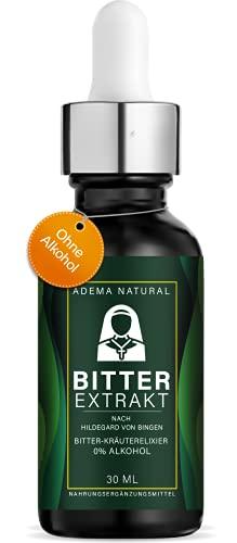 Adema Natural - BITTER EXTRAKT - Bitterstoff / Bitterstoffe gegen Heißhunger auf Süßes - Hochdosierte Bittertropfen nach Art von Hildegard von Bingen - Natürlich und Vegan - ohne Alkohol - 30 ml