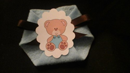 Baby Shower Game 24pack Teddy Bears Blue Dirty Diaper Game Safety PINS INCL.