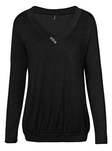 Fleasee Damen Casual Langarm-Shirt mit Kordeln Basic-Shirt Lady Basic Langsleeve Anker Druck Oberteile