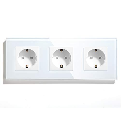 BSEED Enchufe de pared,Schuko Enchufe Triple,toma de corriente Triple con Panel de cristal Blanco,16A 250V enchufes de extensión para Cocina, Dormitorio, Oficina, Hotel, etc