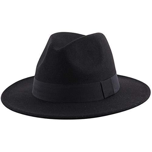 Lanzom Women Wide Brim Warm Wool Fedora Hat Retro Style Belt Panama Hat (Black, One Size)