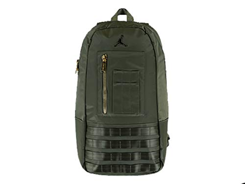 Nike Air Jordan MA-1 Backpack (One Size, Olive Canvas/Metallic Gold)