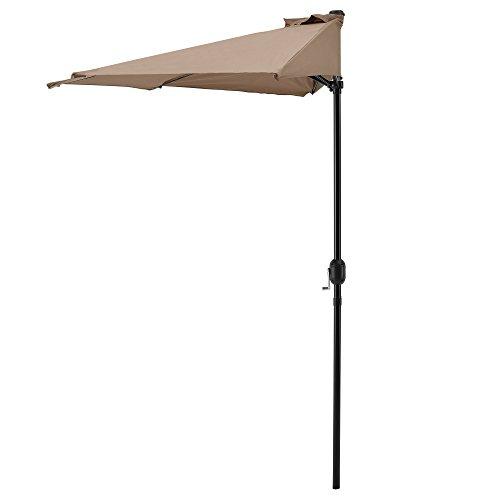 casa.pro Halbschirm Halb-Sonnenschirm Balkonschirm Marktschirm Kurbelschirm Schirm Halbrund Beige / Ø300cm H230cm / 3,5kg / Stahl/Polyester 160g/m²
