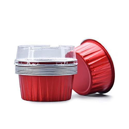 Disposable Cupcake Liners Foil Cups with Lids, Aluminum 5oz 125ml Bake Ramekin Cup Souffle Cup Muffin Cupcake Baking Cup Mini Pudding Cups for Party Wedding Birthday(Size:50 Pcs)