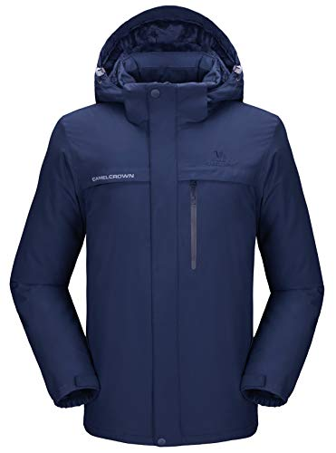 31Pevba9xyL - CAMEL CROWN Men's Mountain Snow Waterproof Ski Jacket Detachable Hood Windproof Fleece Parka Rain Jacket Winter Coat